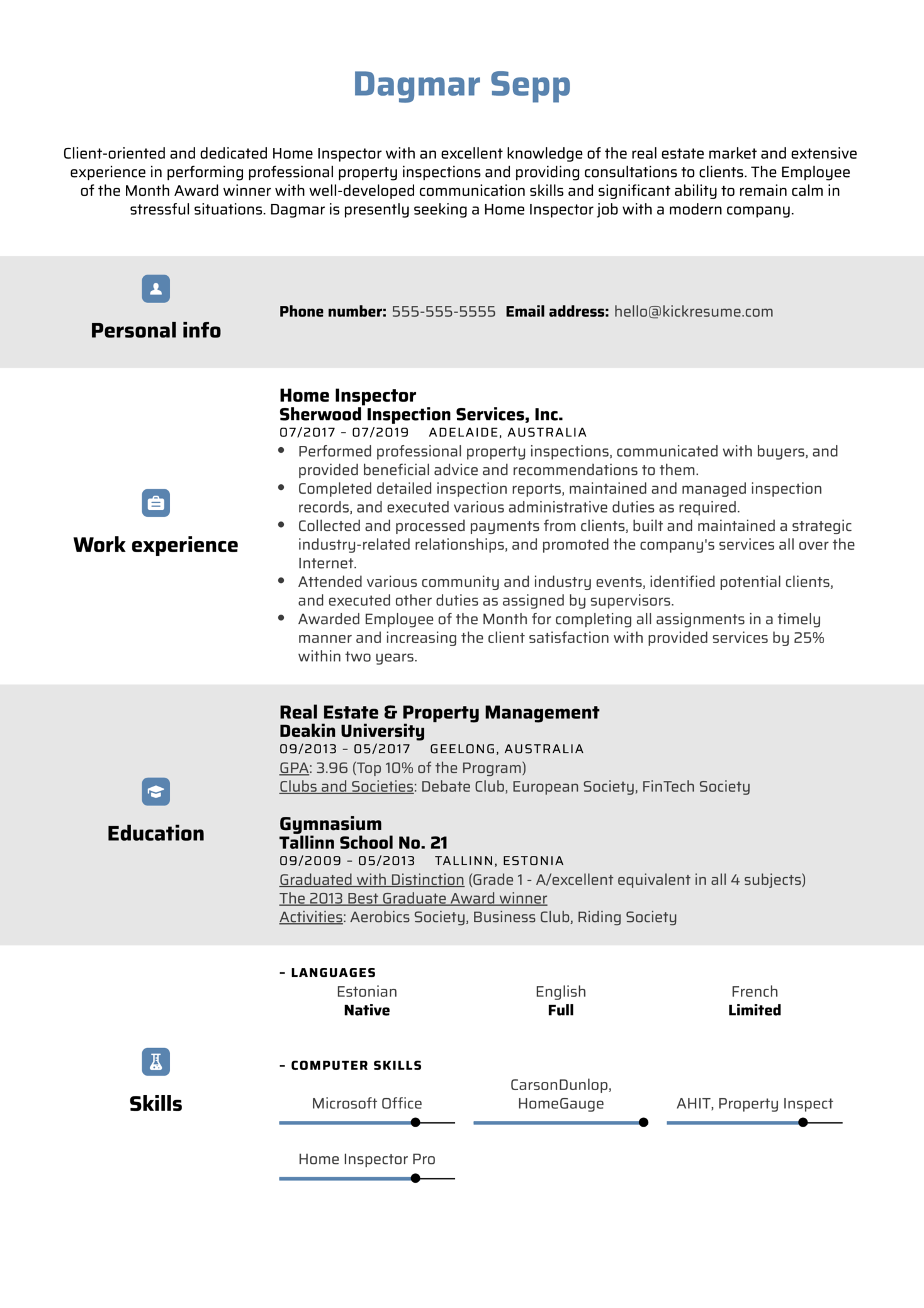 Home Inspector Resume Example (Part 1)