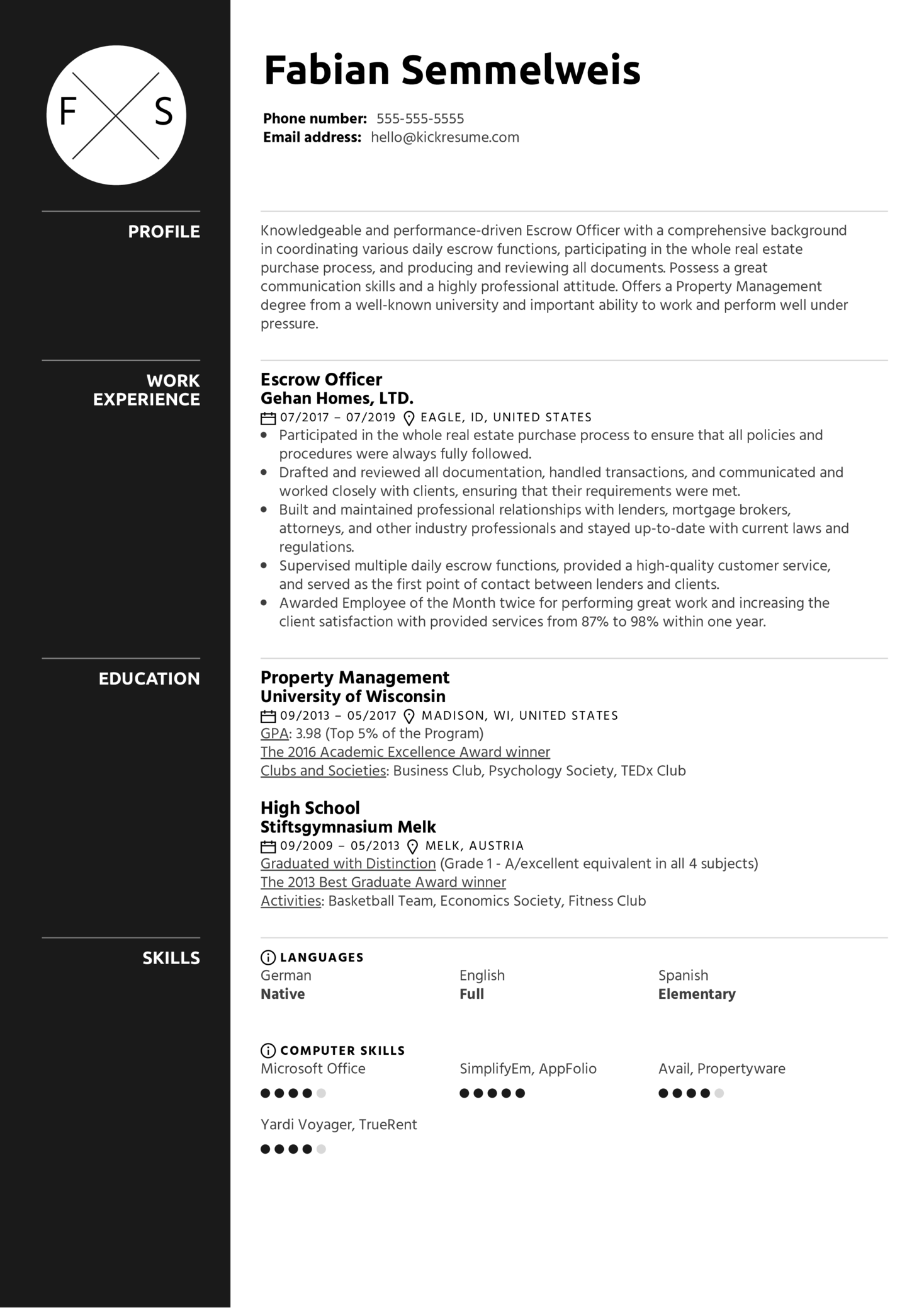 Escrow Officer Resume Sample (Part 1)