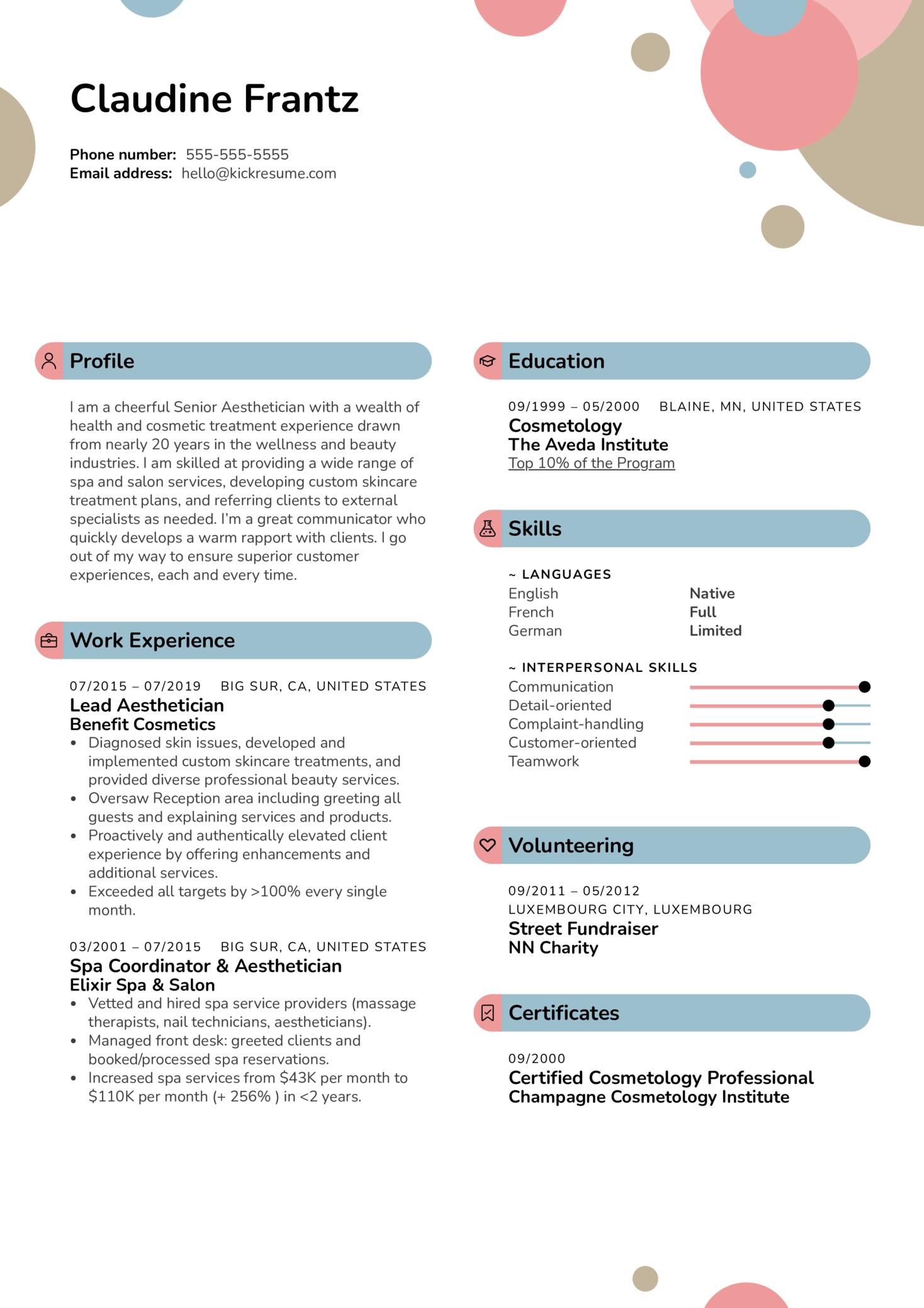 Esthetician (Aesthetician) Resume Sample