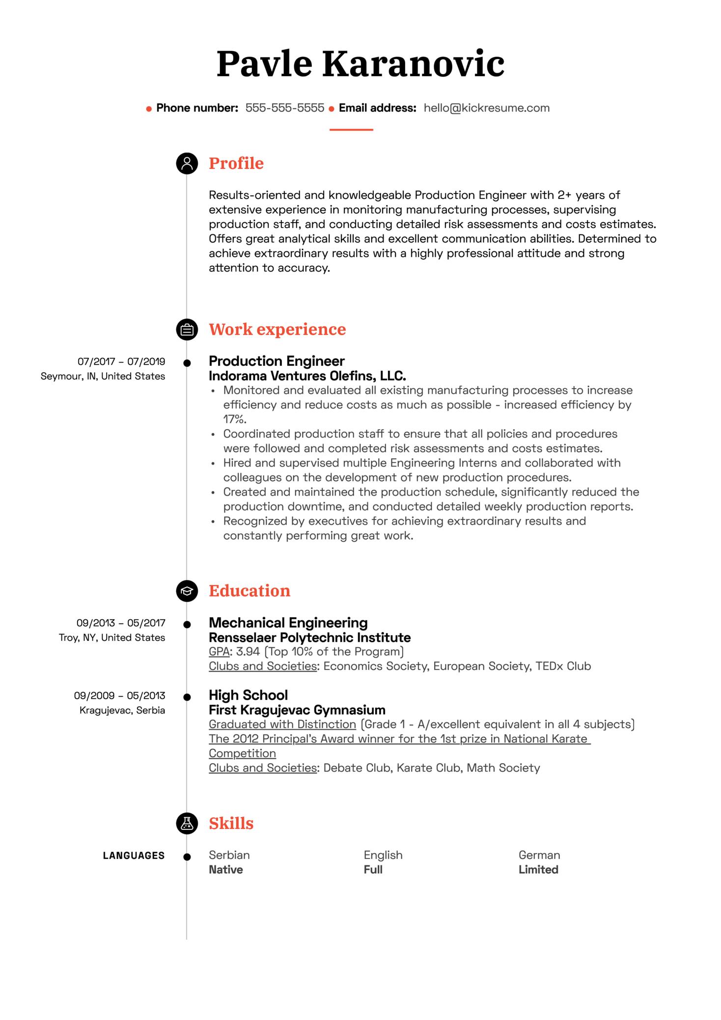 Production Engineer Resume Sample (časť 1)
