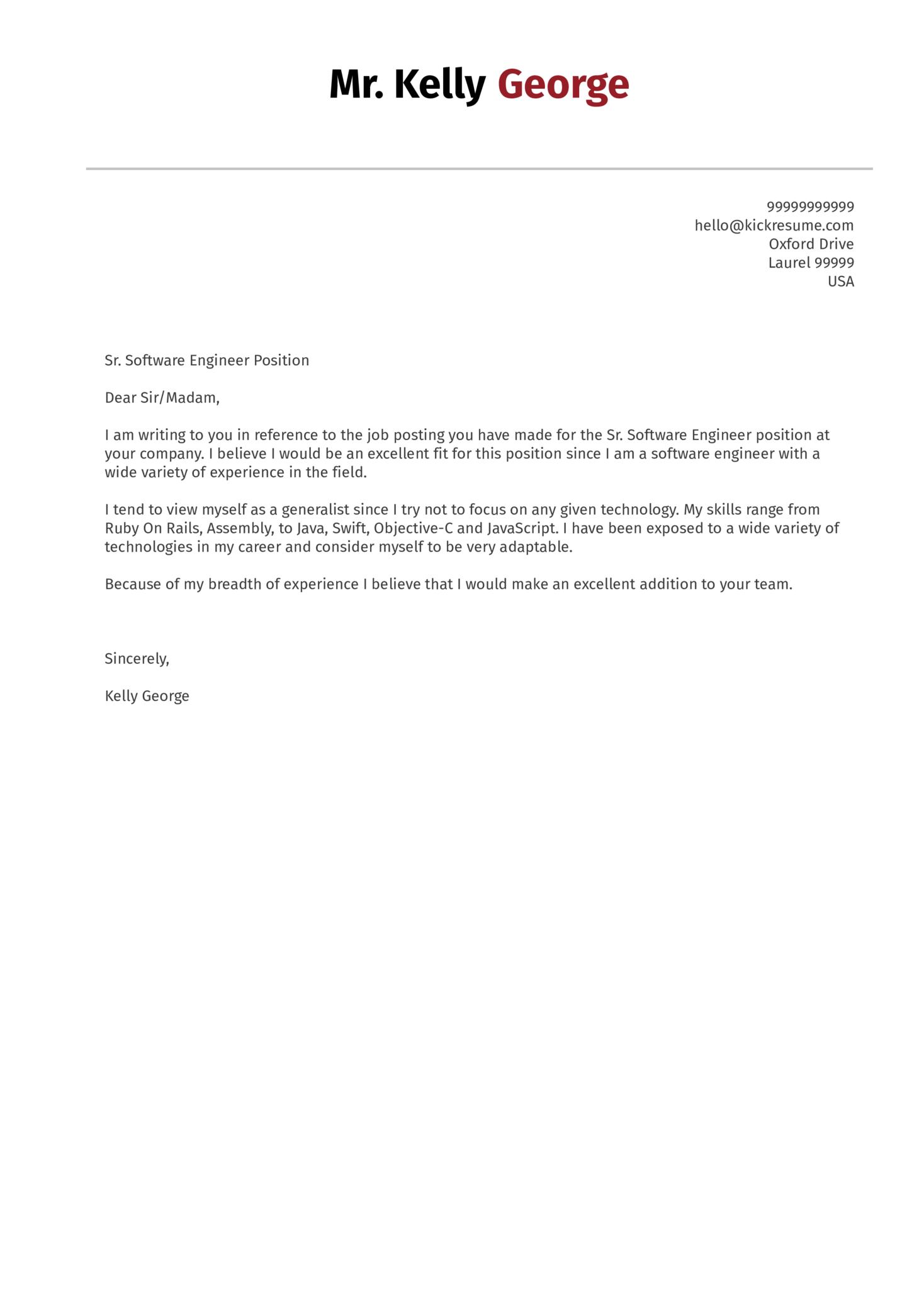 Senior Software Engineer Cover Letter Sample