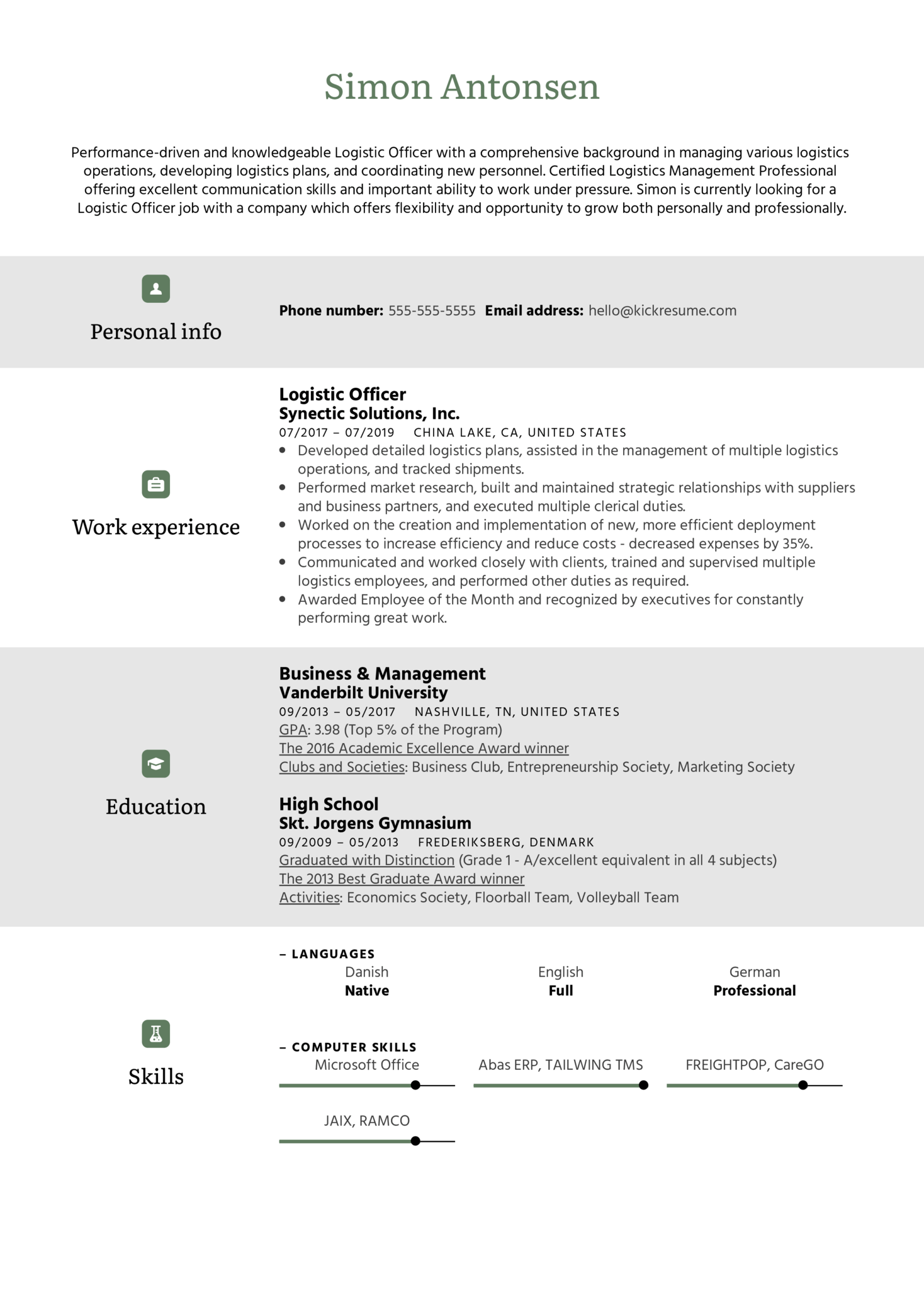 Logistic Officer Resume Sample (Part 1)