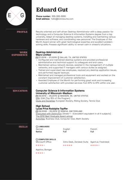 Desktop Administrator Resume Sample