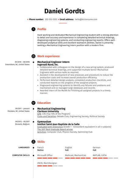 Mechanical Engineering Intern Resume Example