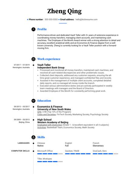 Vault Teller Resume Sample