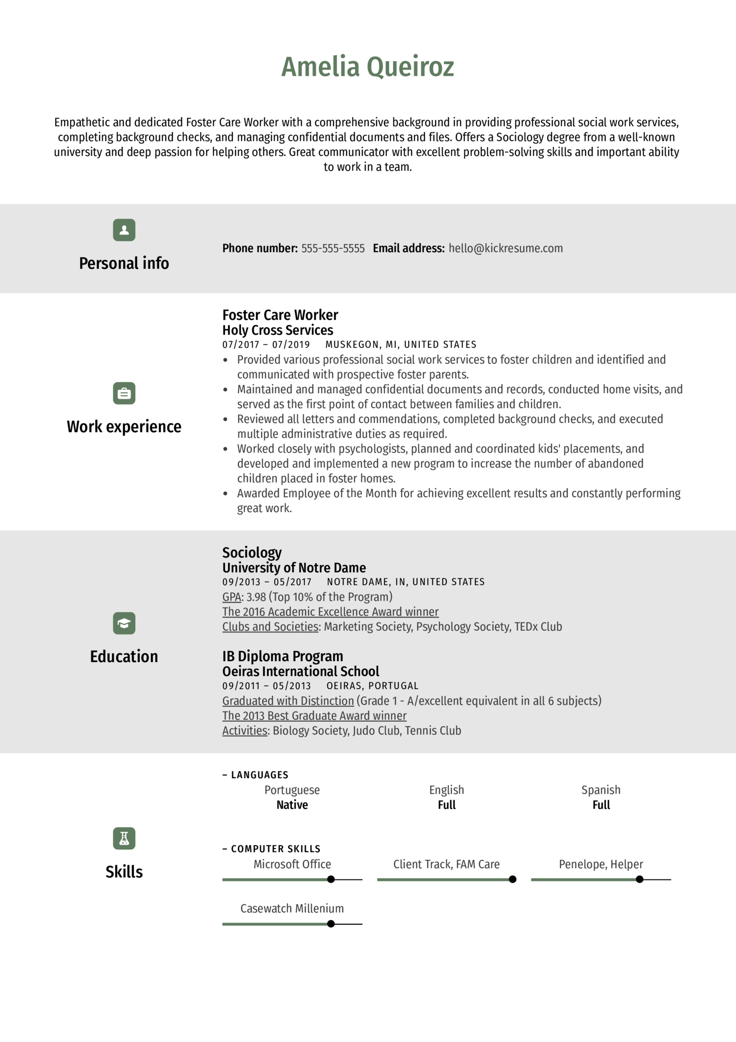 Foster Care Worker Resume Example (časť 1)