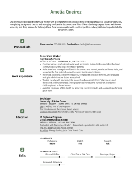 Foster Care Worker Resume Example