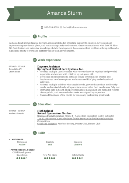 Daycare Assistant Resume Example