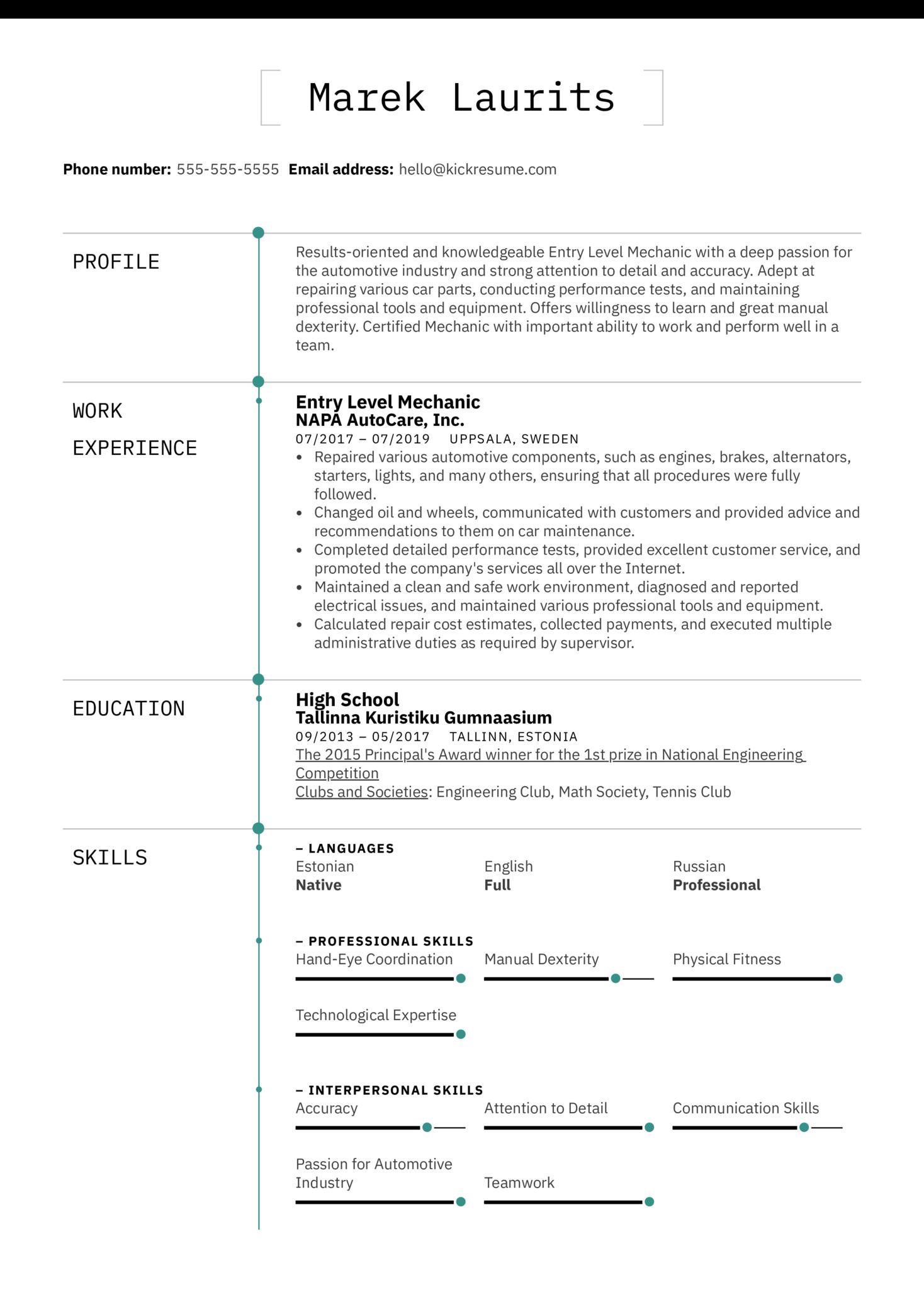 Vehicle Mechanic Resume Example (Part 1)
