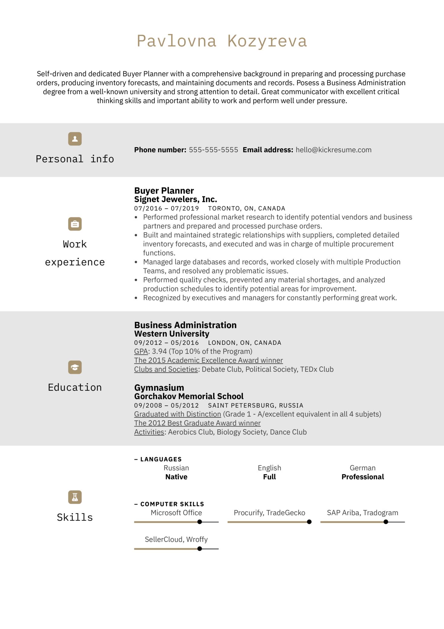 Buyer Planner Resume Example (Part 1)