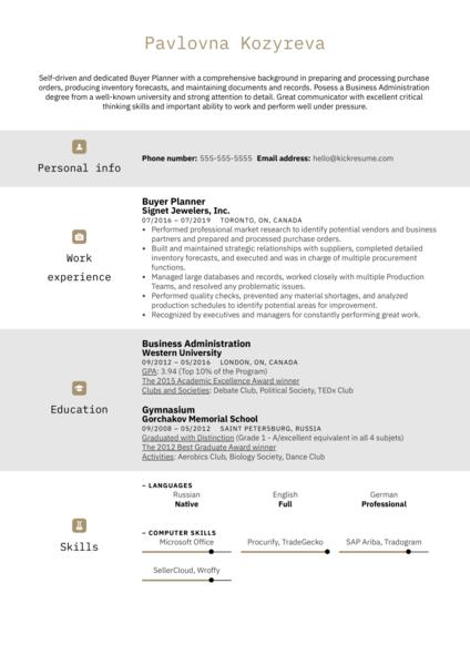 Buyer Planner Resume Example