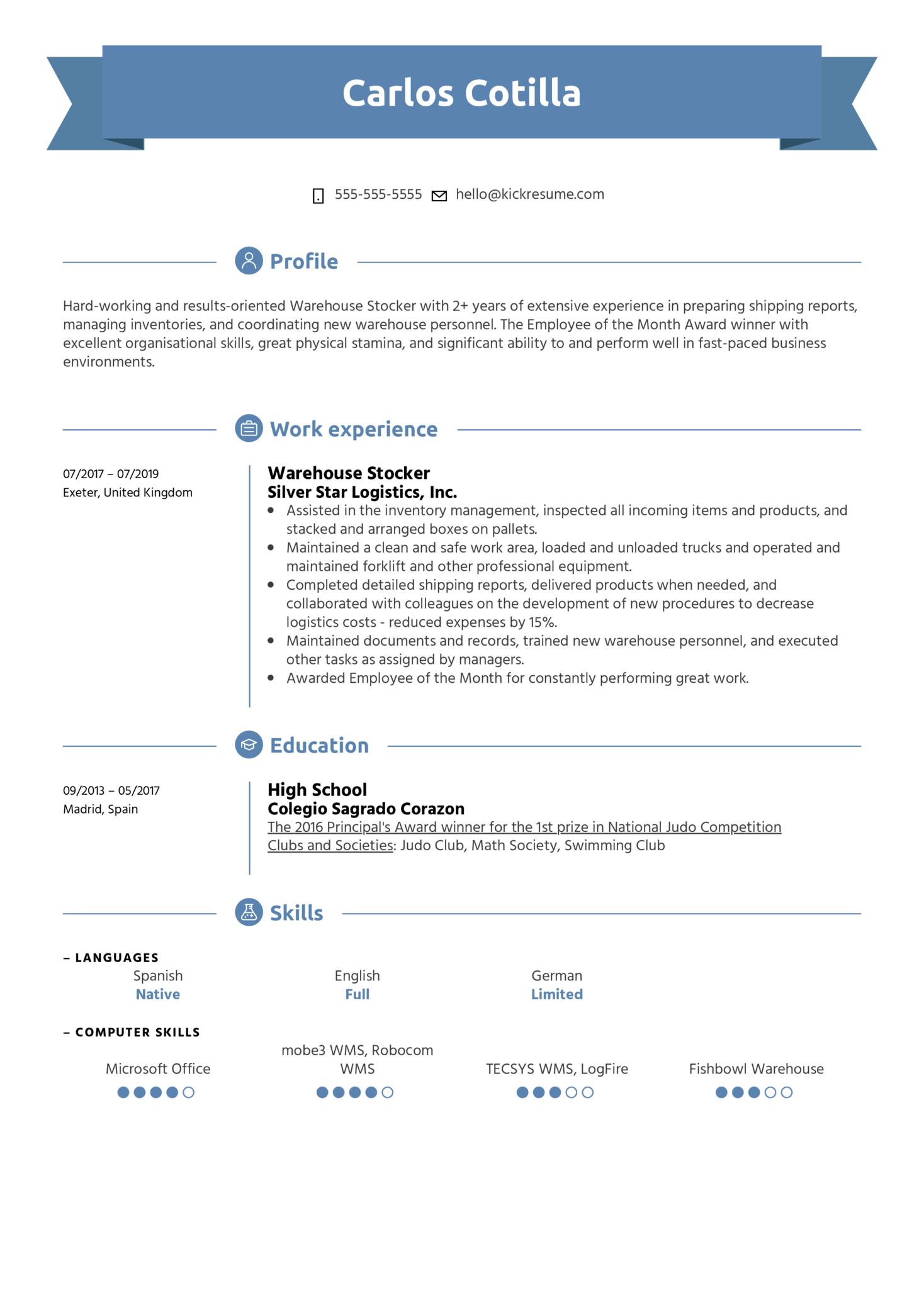 Warehouse Stocker Resume Sample (parte 1)