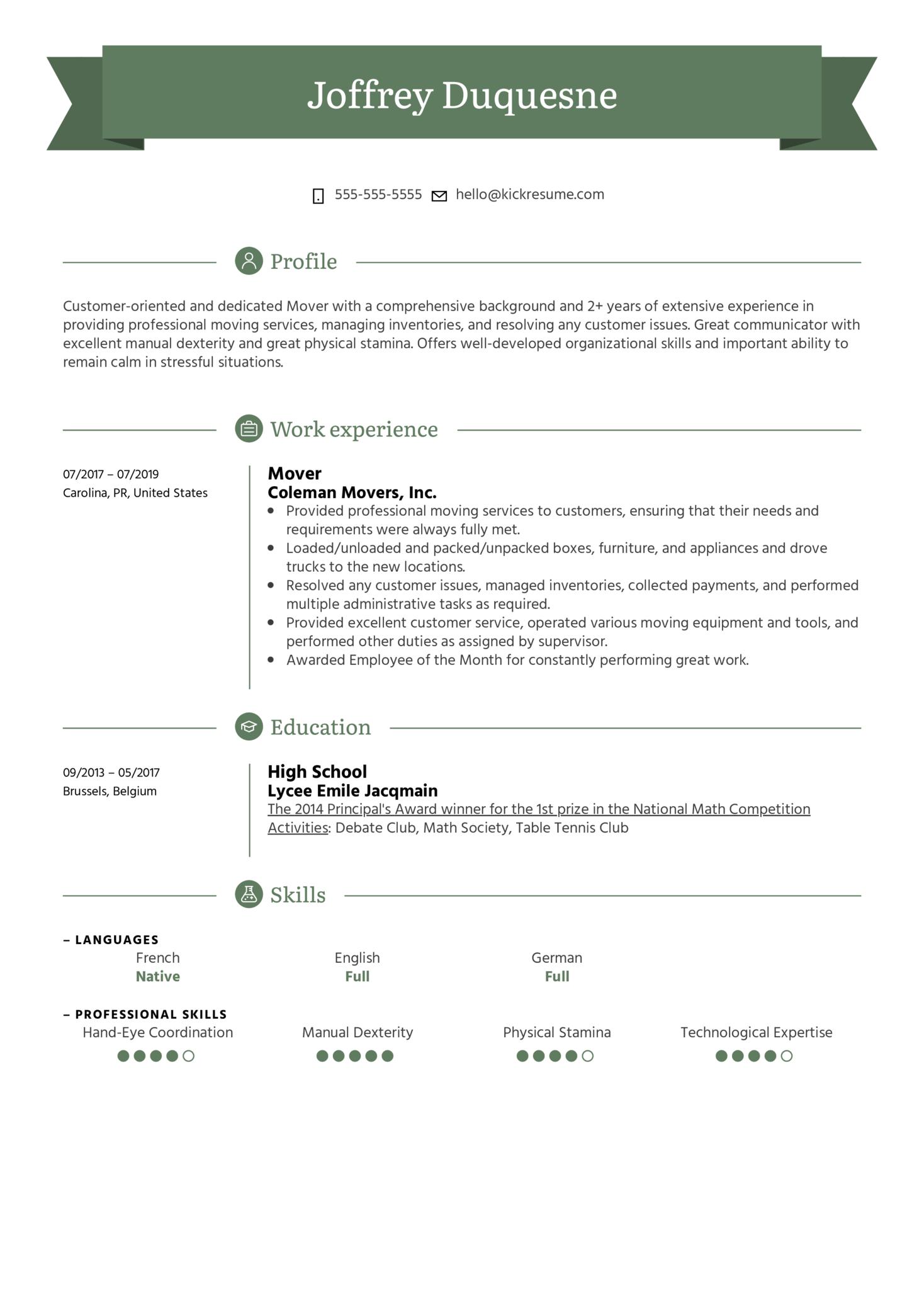 Mover Resume Sample (časť 1)