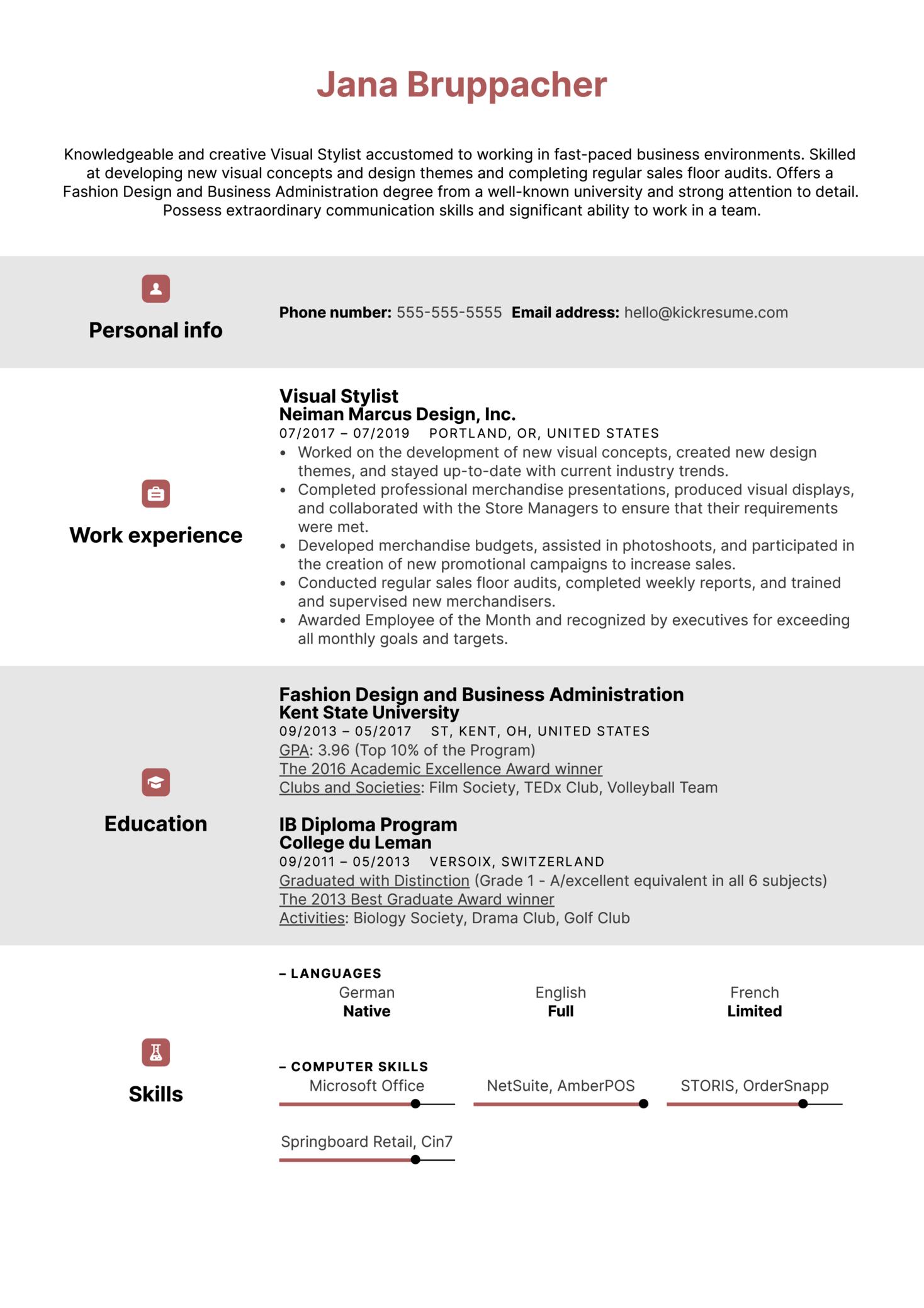 Visual Stylist Resume Example (Part 1)