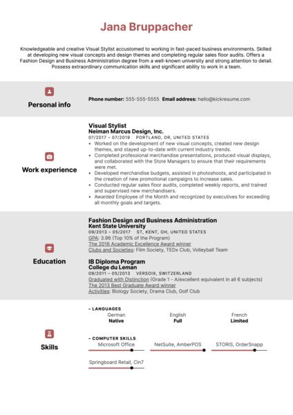 Visual Stylist Resume Example