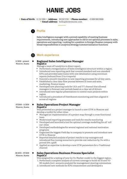 PepsiCo Sales Intelligence Manager Resume Sample