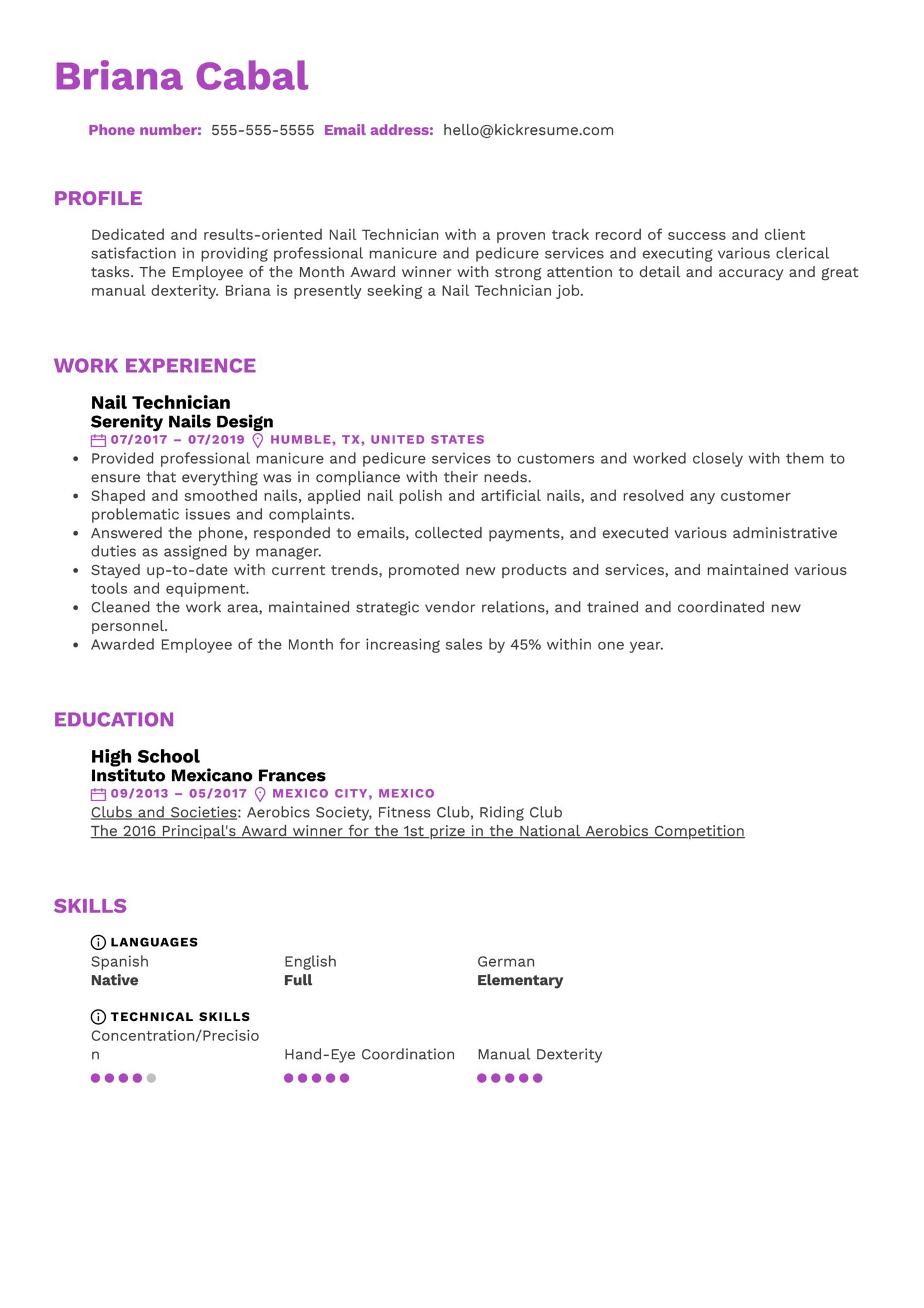 Nail Technician Resume Sample (Part 1)
