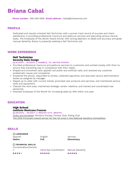 Nail Technician Resume Sample