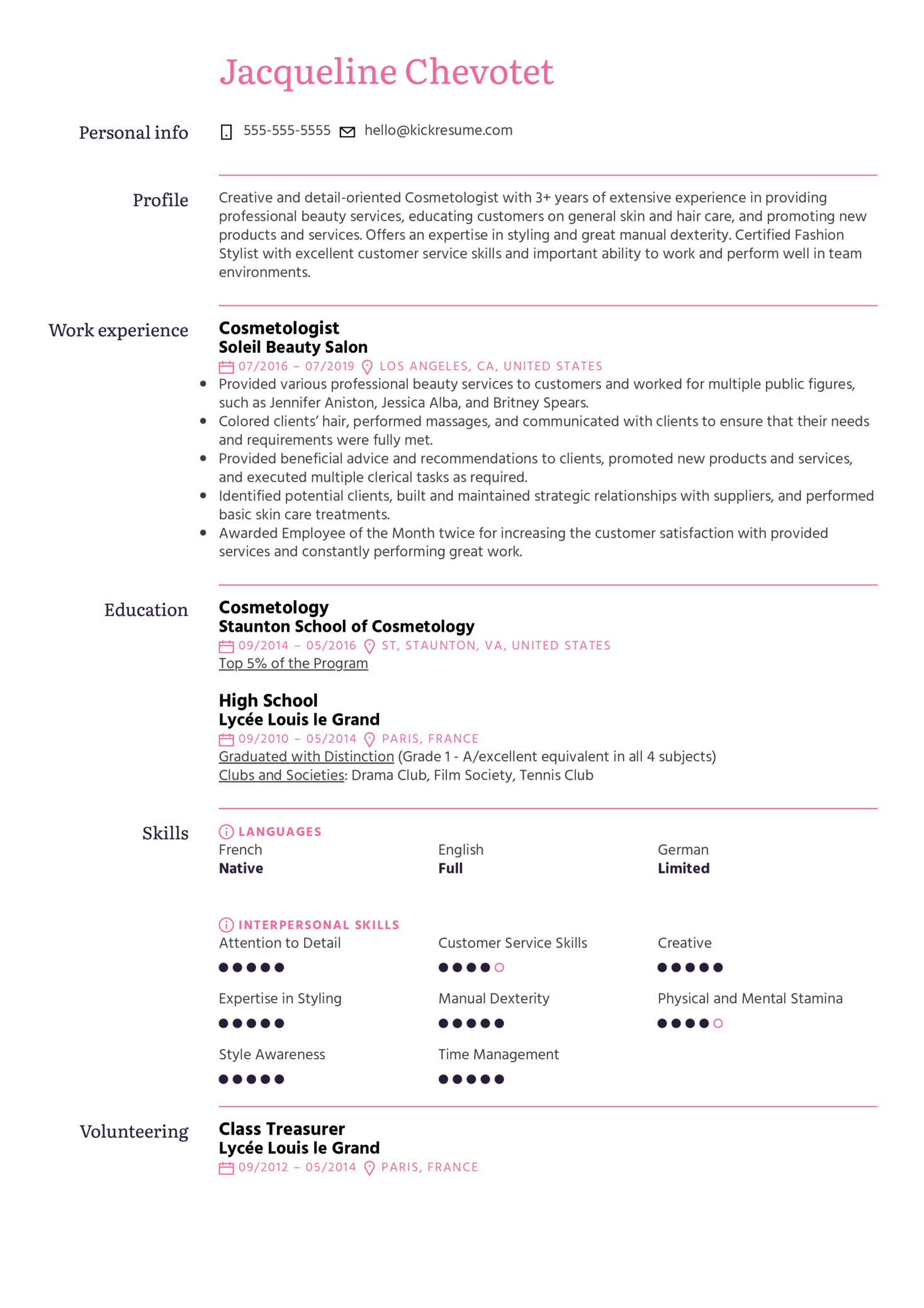 Cosmetologist Resume Example (Teil 1)