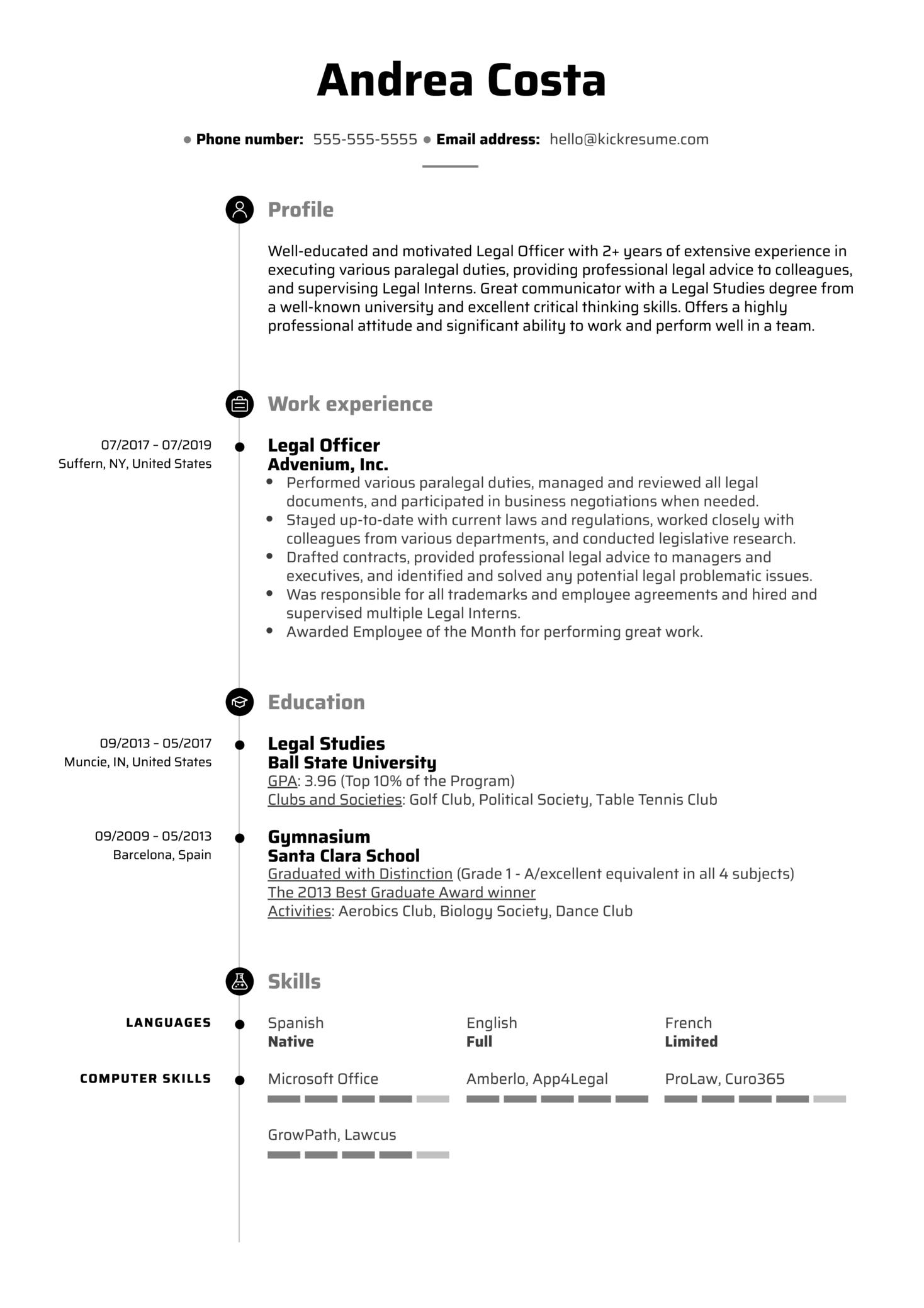 Legal Officer Resume Sample (Parte 1)