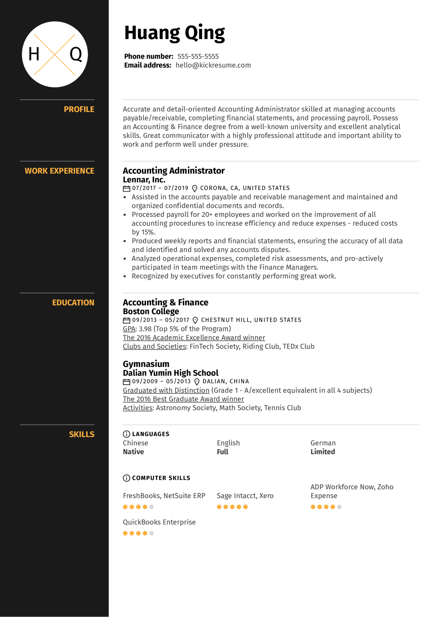 Accounting Administrator Resume Sample (parte 1)