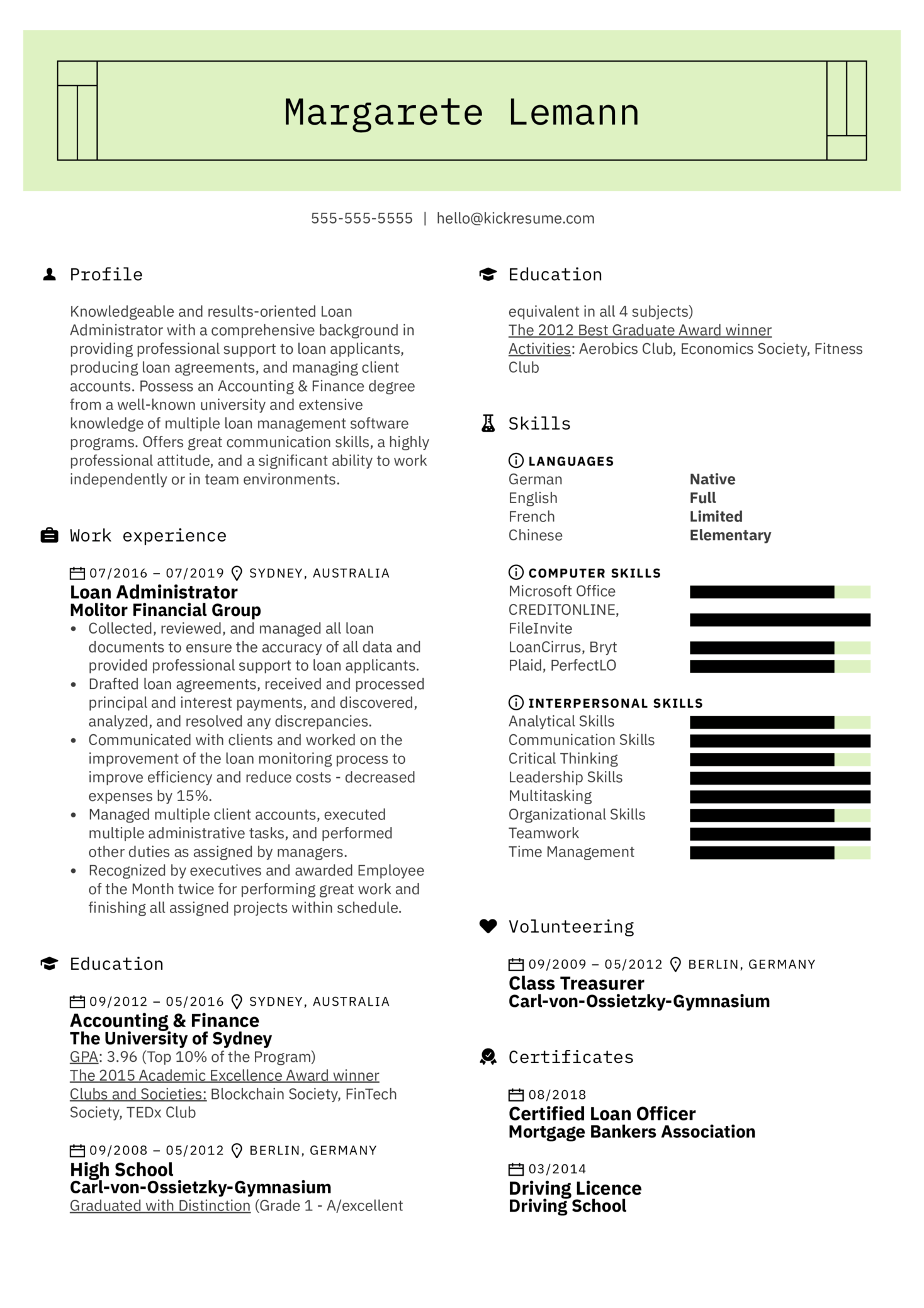Loan Administrator Resume Example (Part 1)