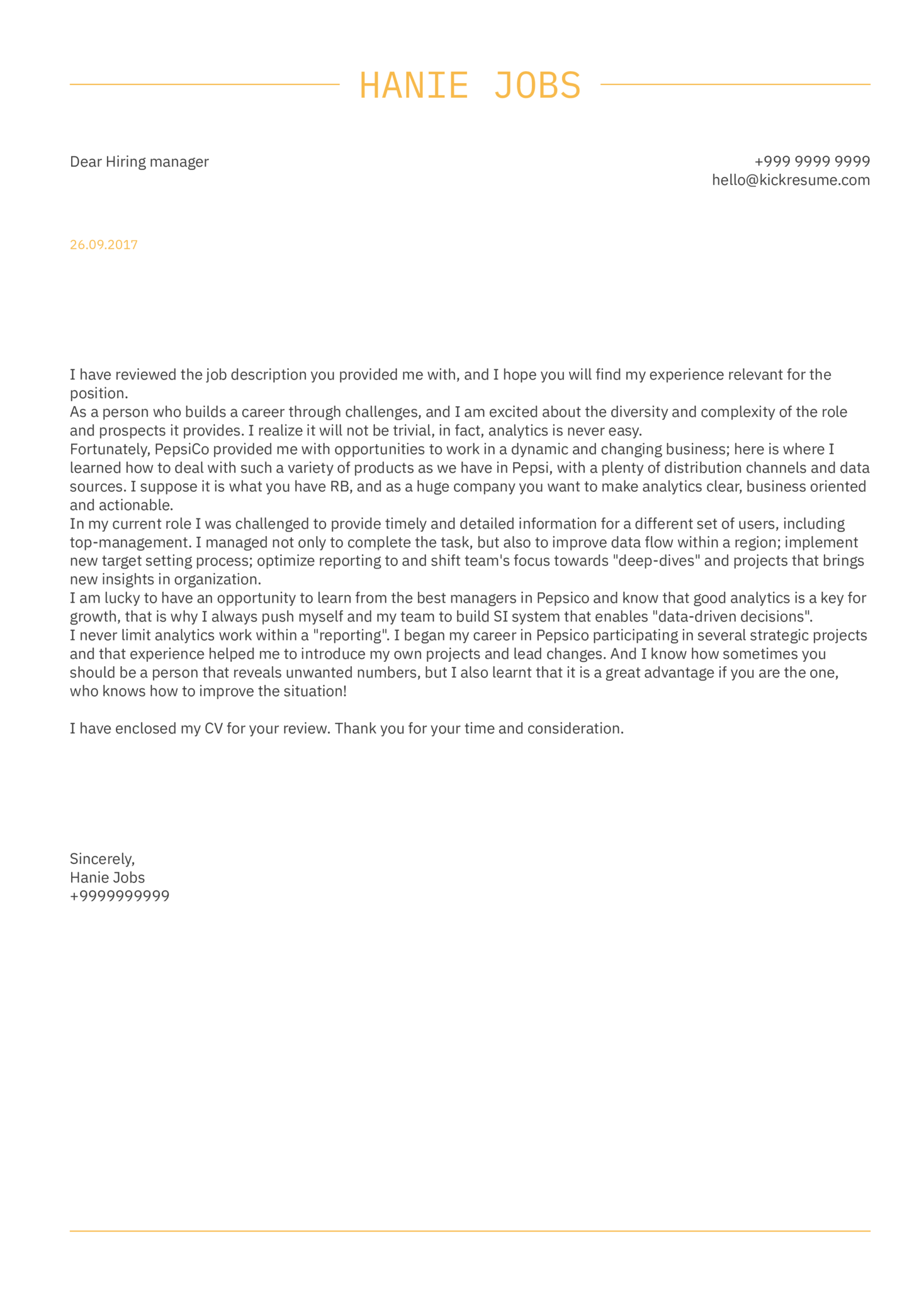 PepsiCo Sales Intelligence Manager Cover Letter Sample