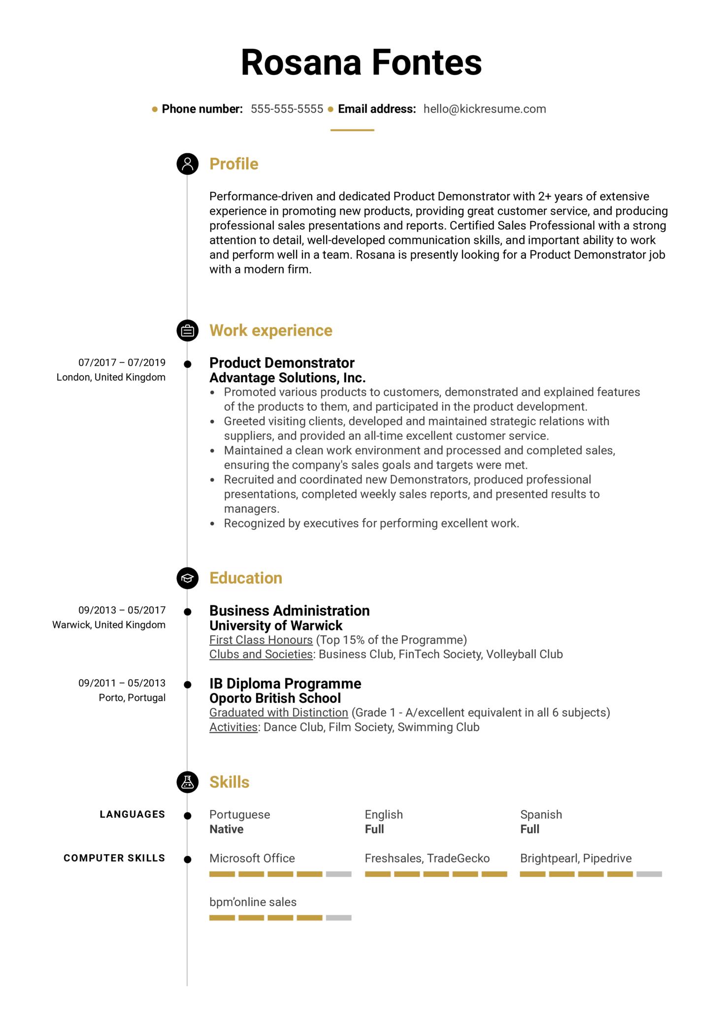 Product Demonstrator Resume Sample (Part 1)