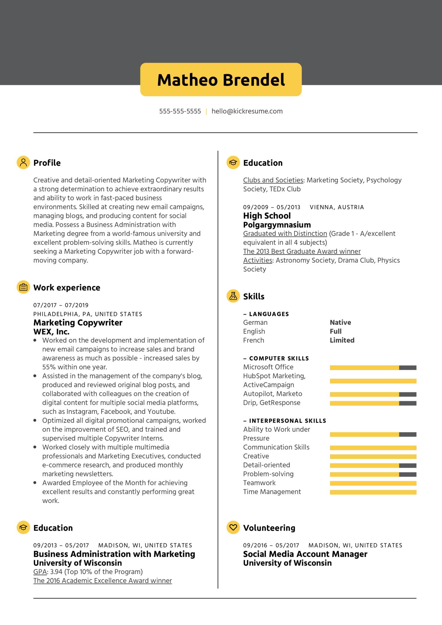 Marketing Copywriter Resume Sample (Part 1)