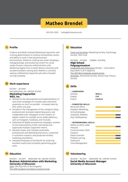 Marketing Copywriter Resume Sample
