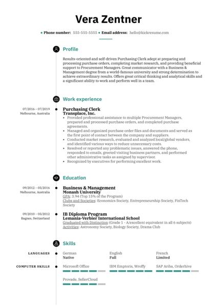 Purchasing Clerk Resume Sample