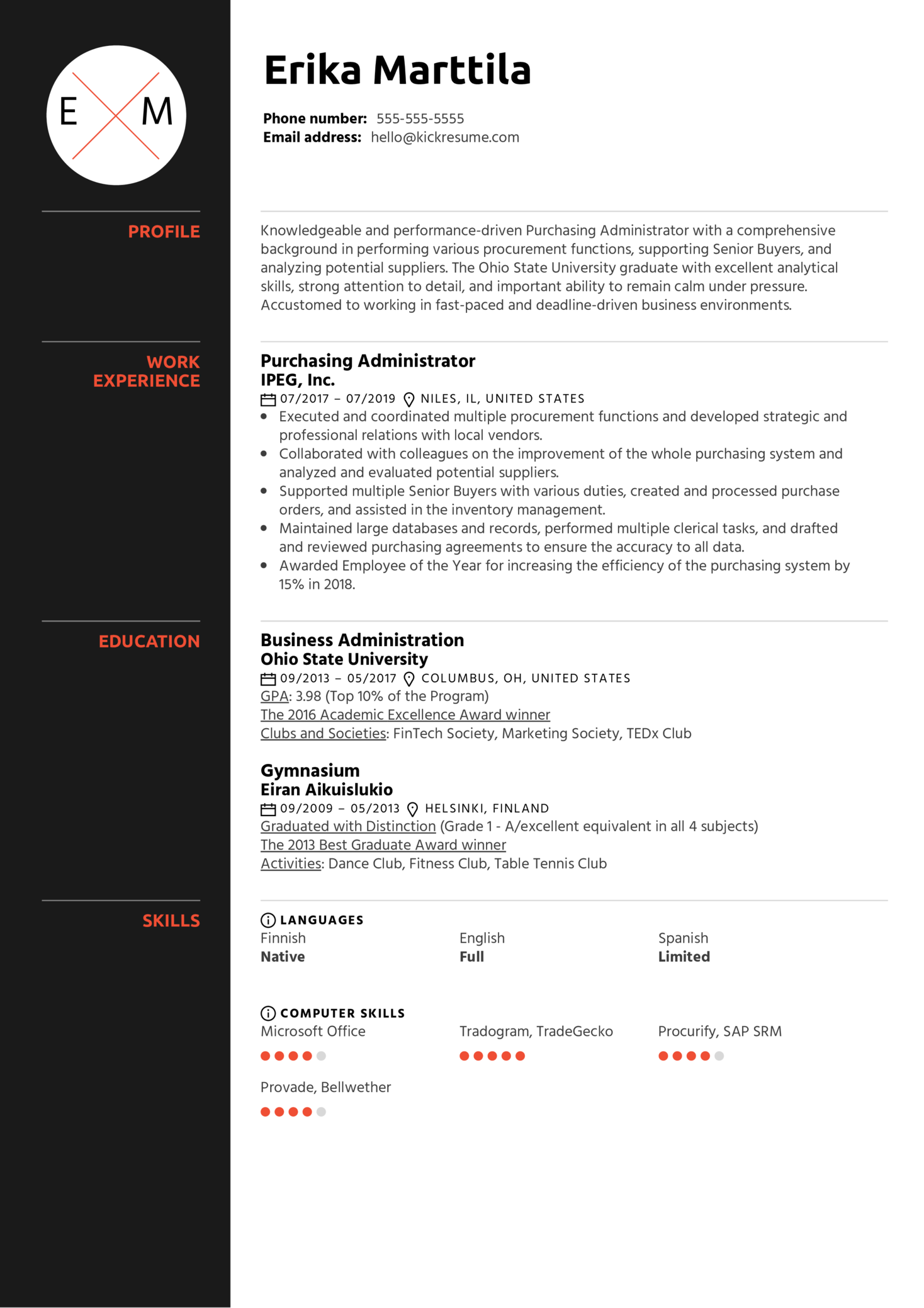 Purchasing Administrator Resume Example (Part 1)