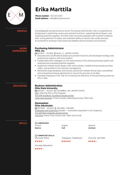 Purchasing Administrator Resume Example