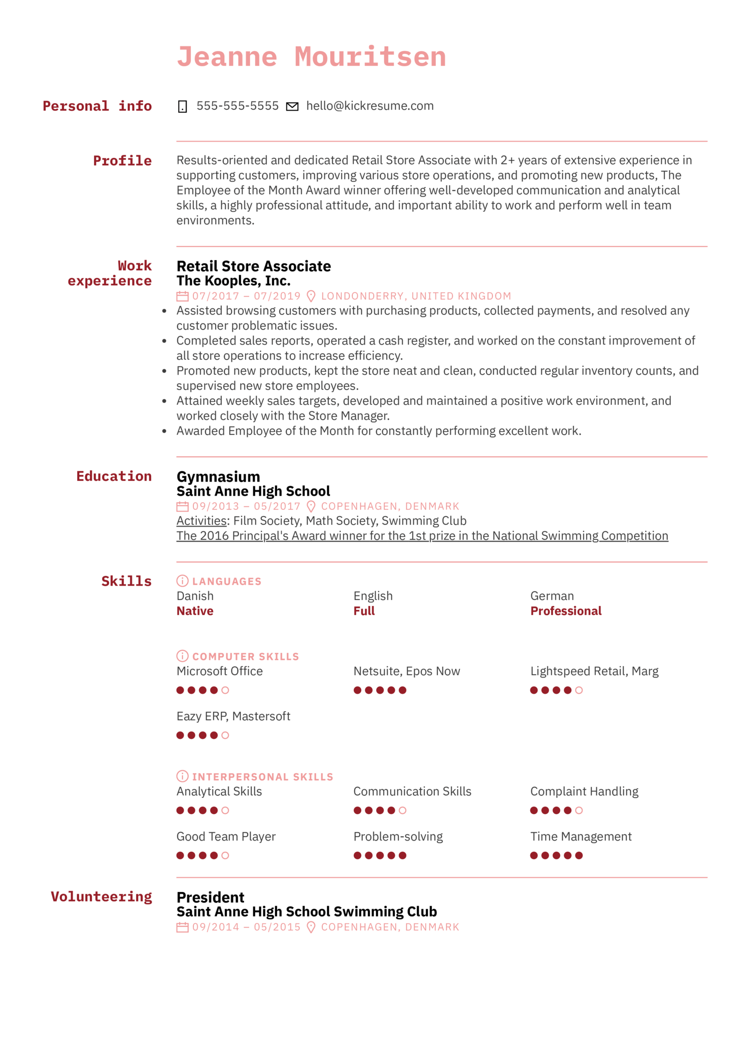 Store Associate Resume Sample (Part 1)
