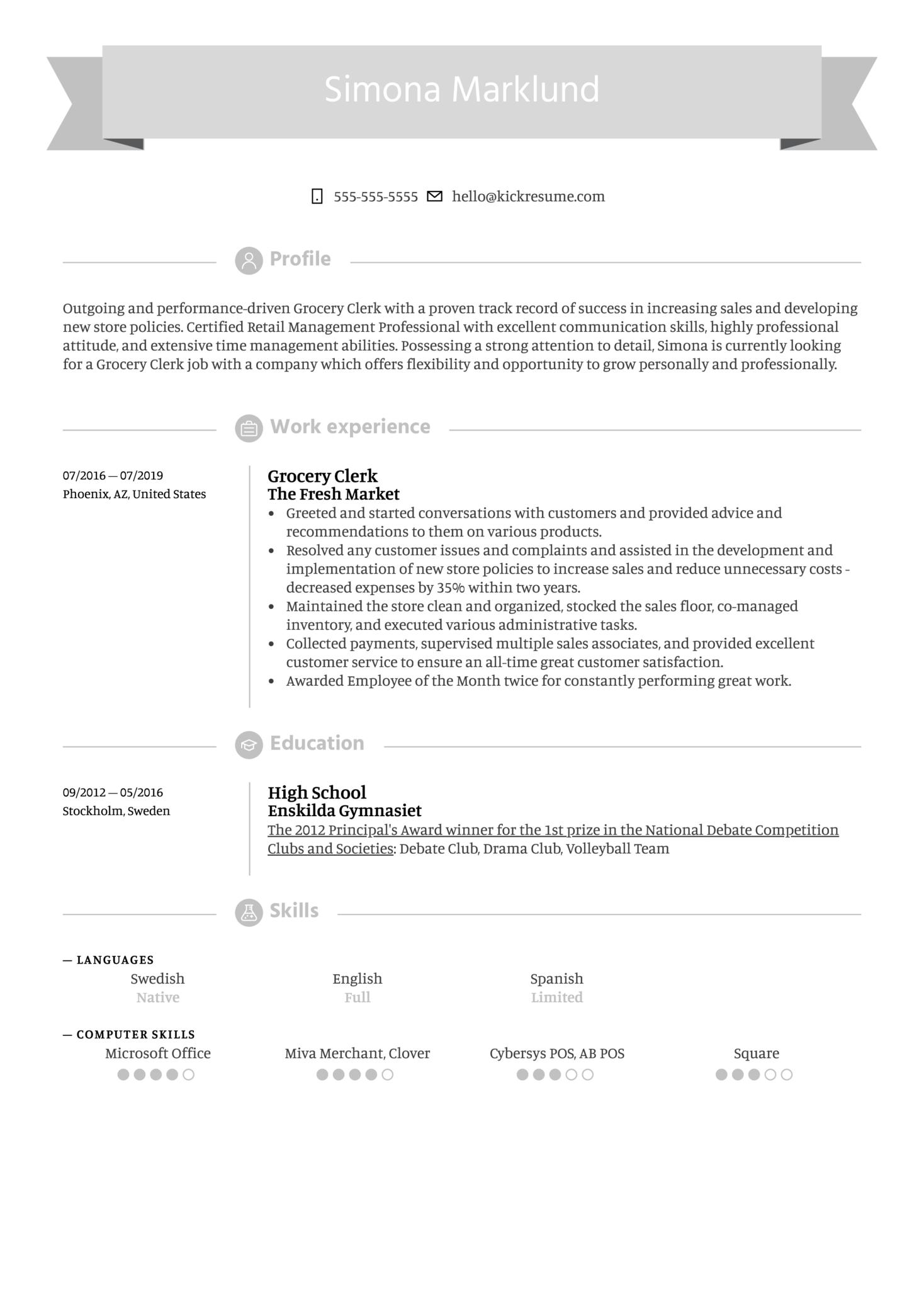 Grocery Clerk Resume Example (Teil 1)