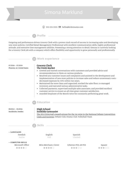 Grocery Clerk Resume Example
