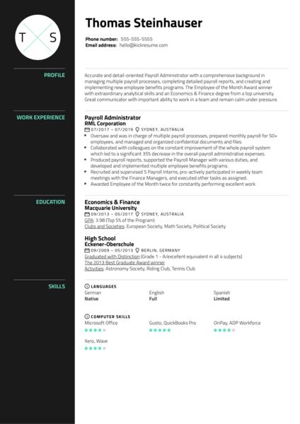 Payroll Administrator Resume Sample