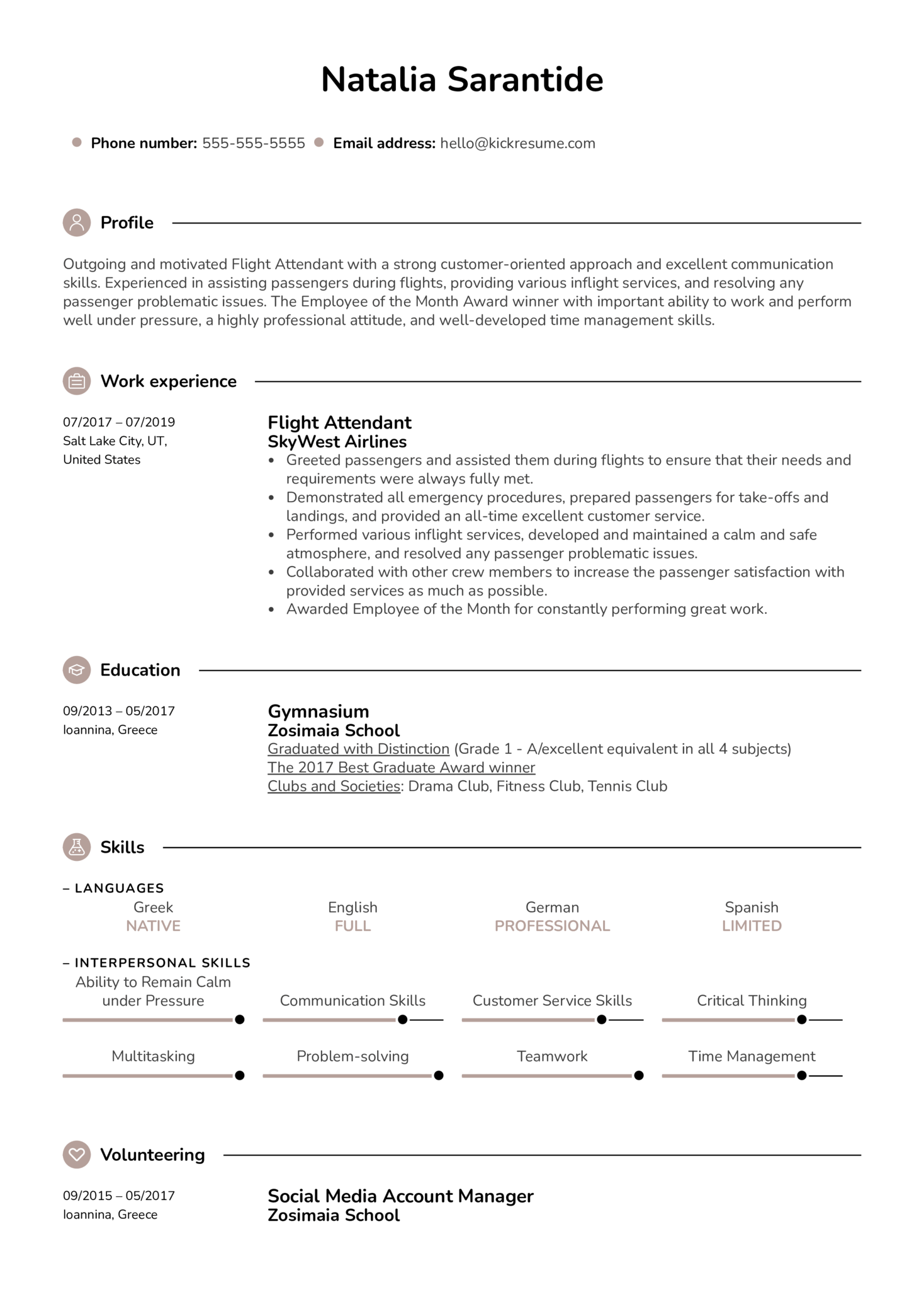 Flight Attendant Resume Example (parte 1)