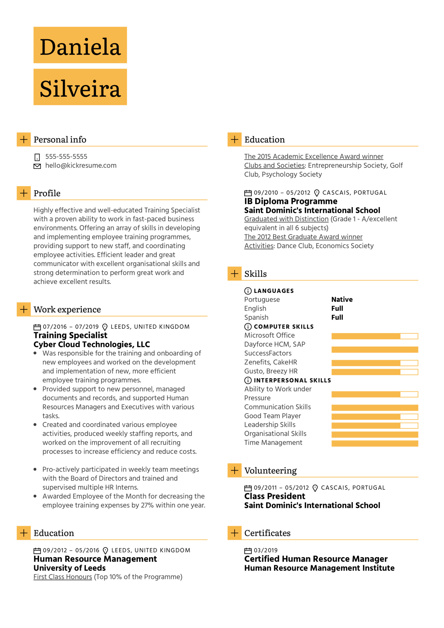 Training Specialist Resume Sample (Teil 1)