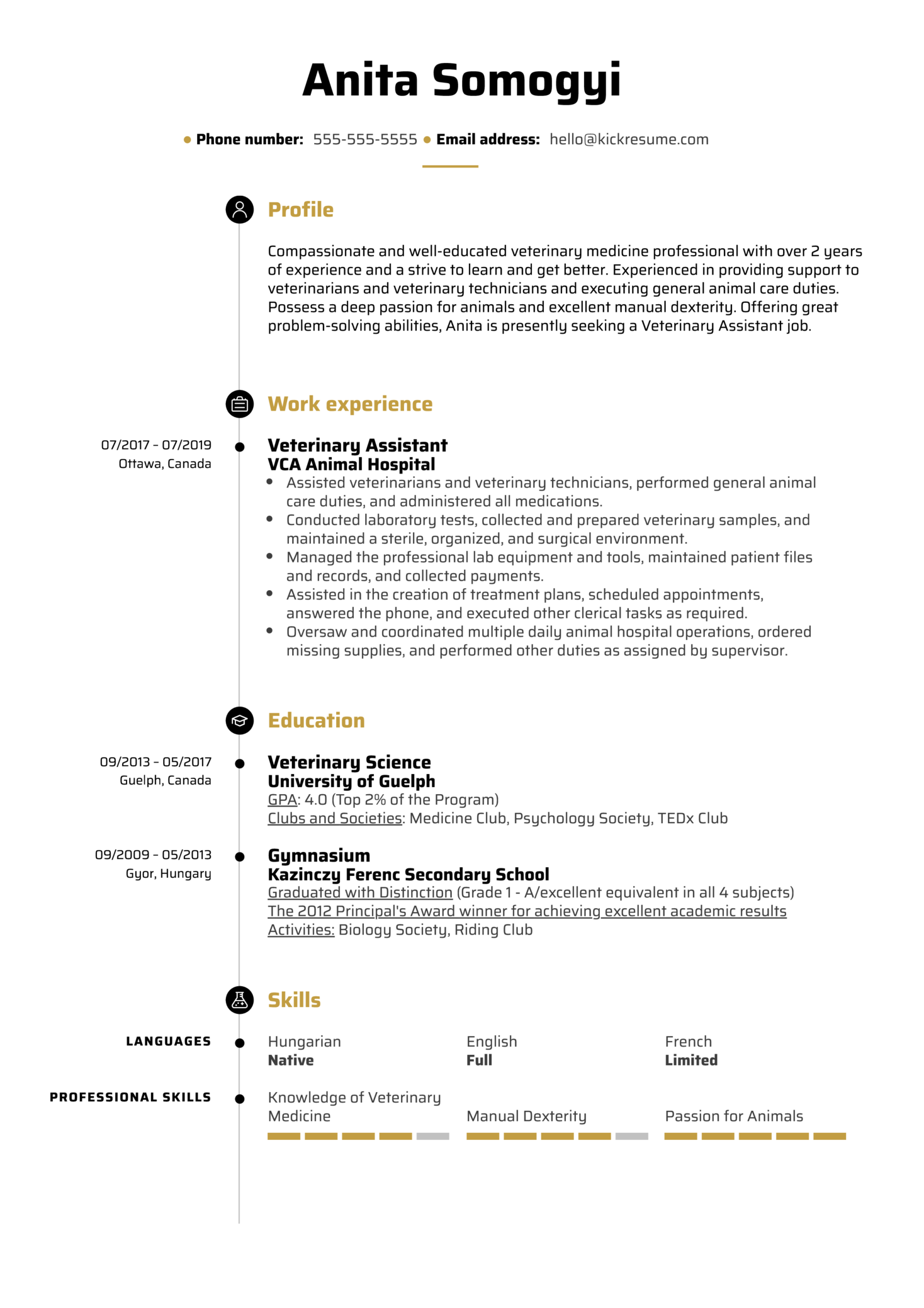Veterinary Assistant Resume Example (Part 1)