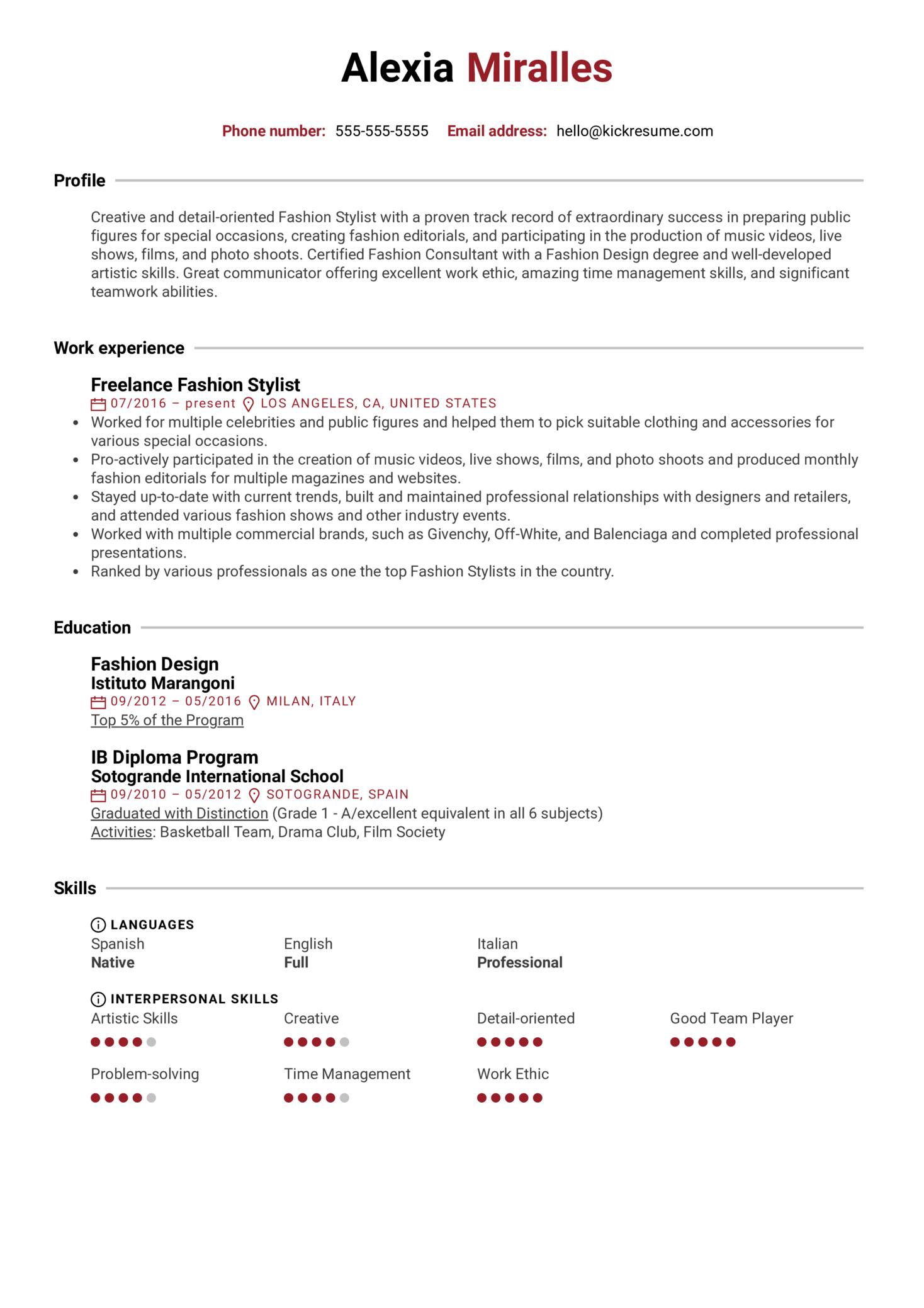 Fashion Stylist Resume Example (parte 1)