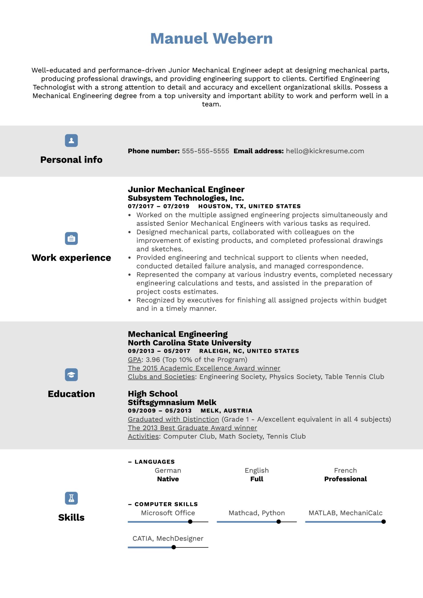 Junior Mechanical Engineer Resume Sample (parte 1)