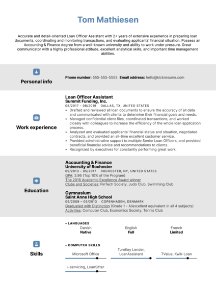 Loan Officer Assistant Resume Example