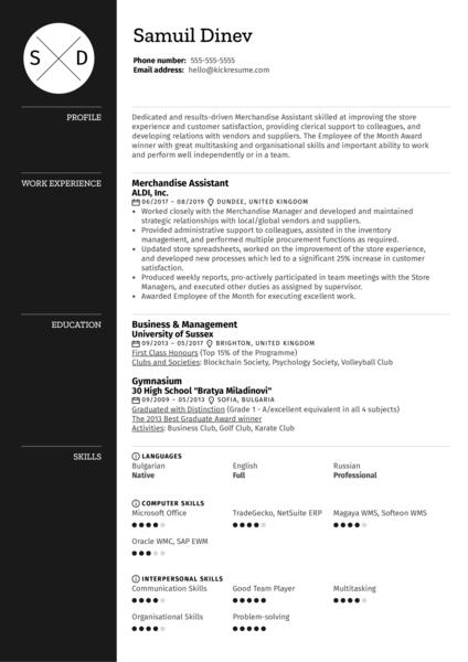 Merchandising Assistant Resume Sample