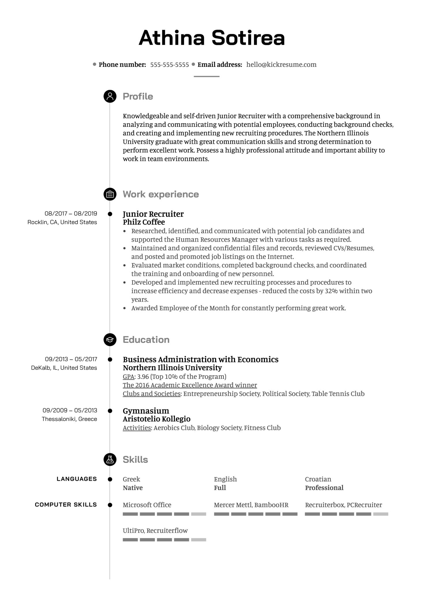 Junior Recruiter Resume Sample (Part 1)