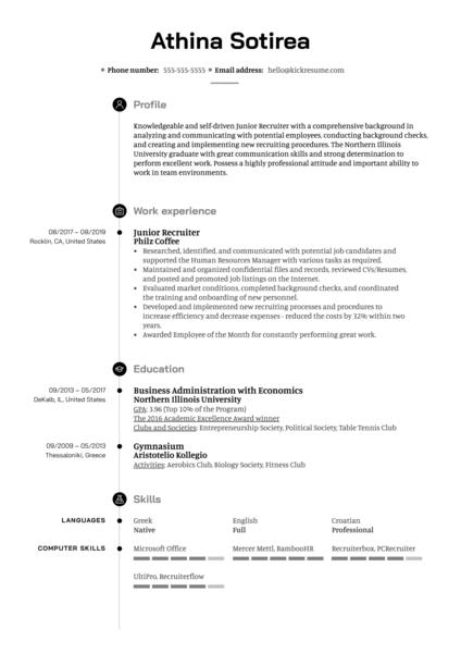 Junior Recruiter Resume Sample