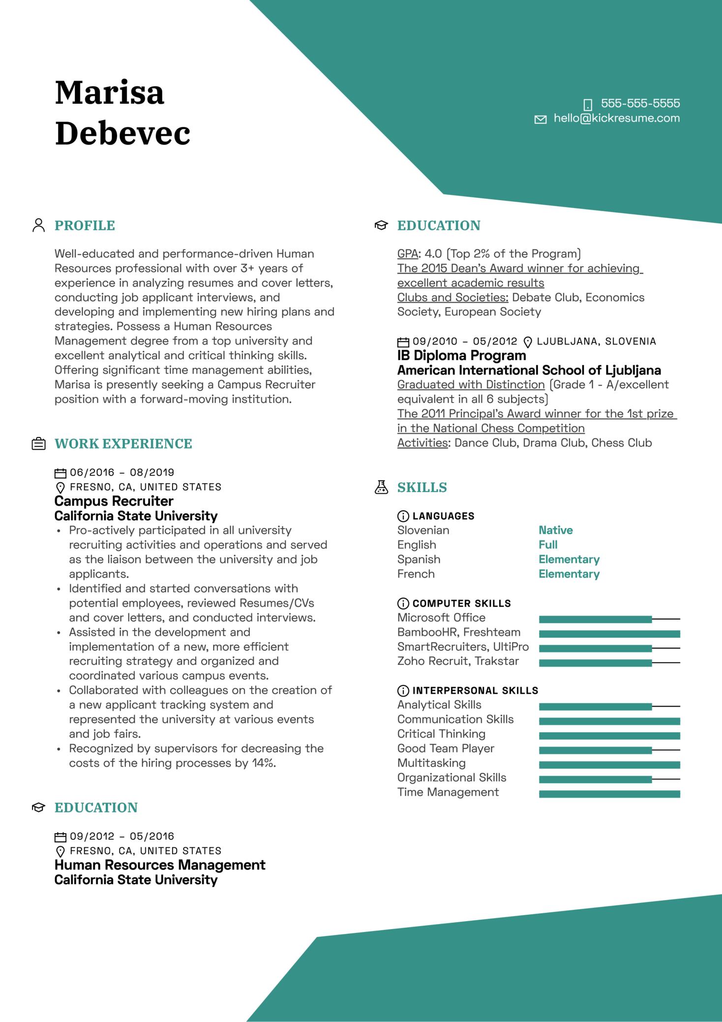 Campus Recruiter Resume Example (Teil 1)