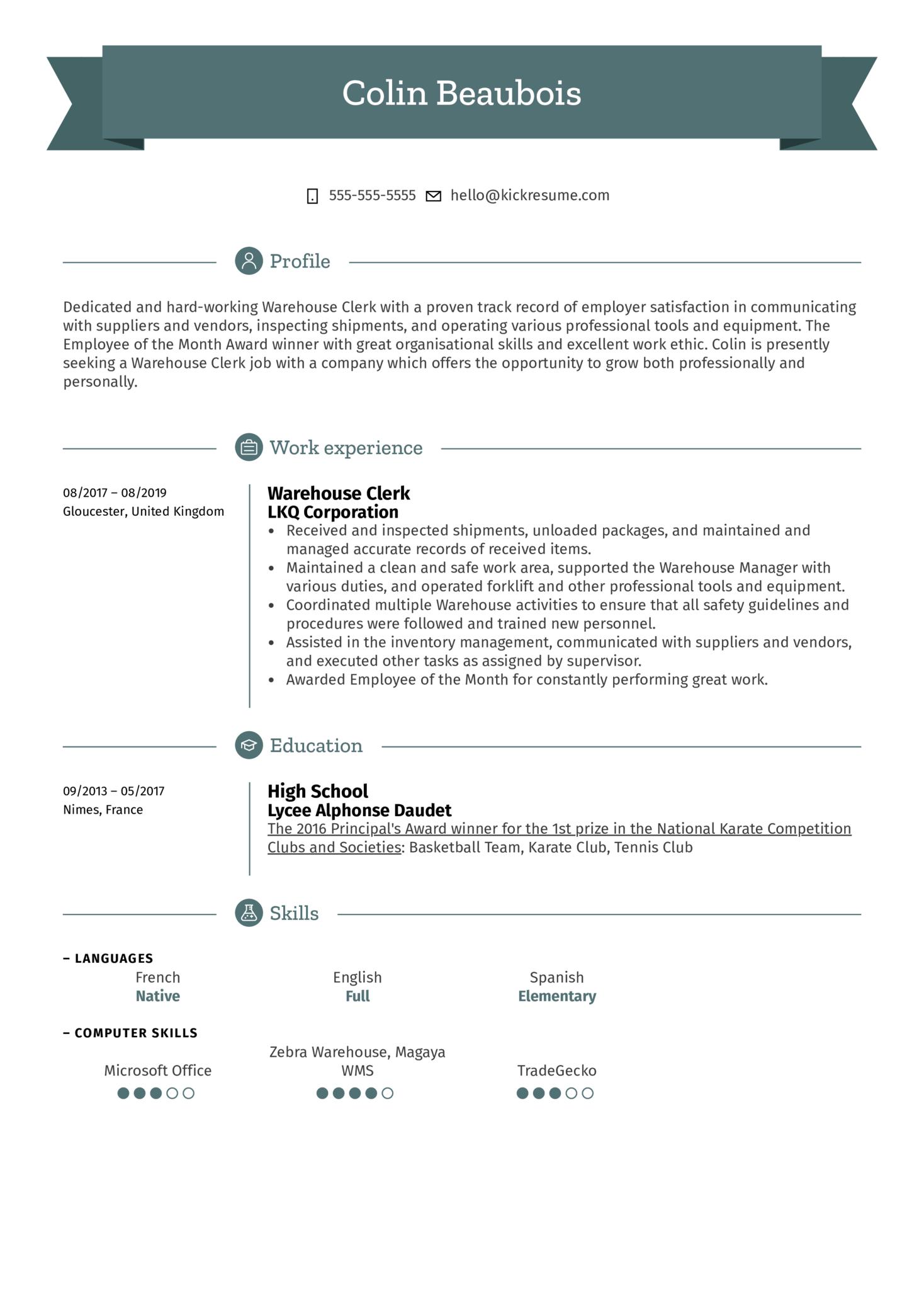 Warehouse Clerk Resume Sample (Part 1)