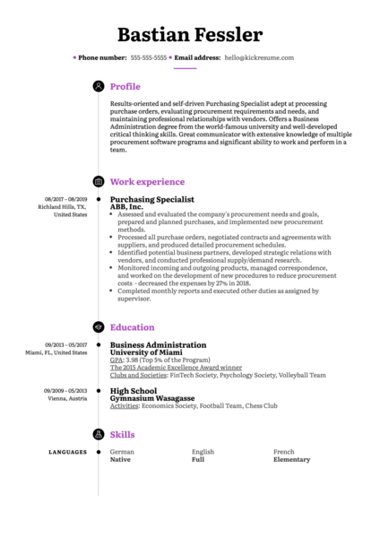 Purchasing Specialist Resume Example