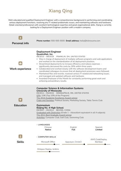 Deployment Engineer Resume Sample